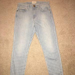 Current/Elliott high waist stiletto Gingham jeans